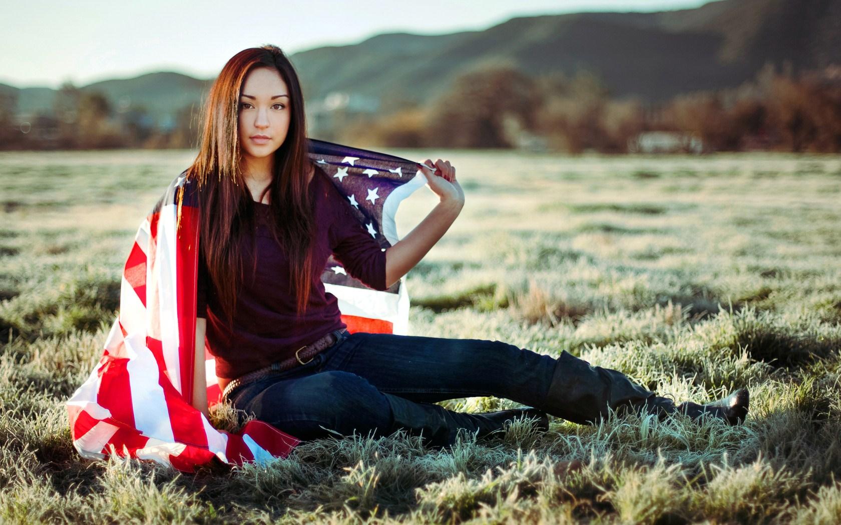 beautiful girl us flag wallpaper 42870