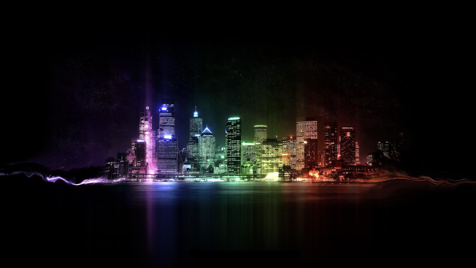 Colorful city lights wallpaper 24308 1920x1080 px for 24308