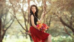 Wonderful Girl Flowers Wallpaper 44555