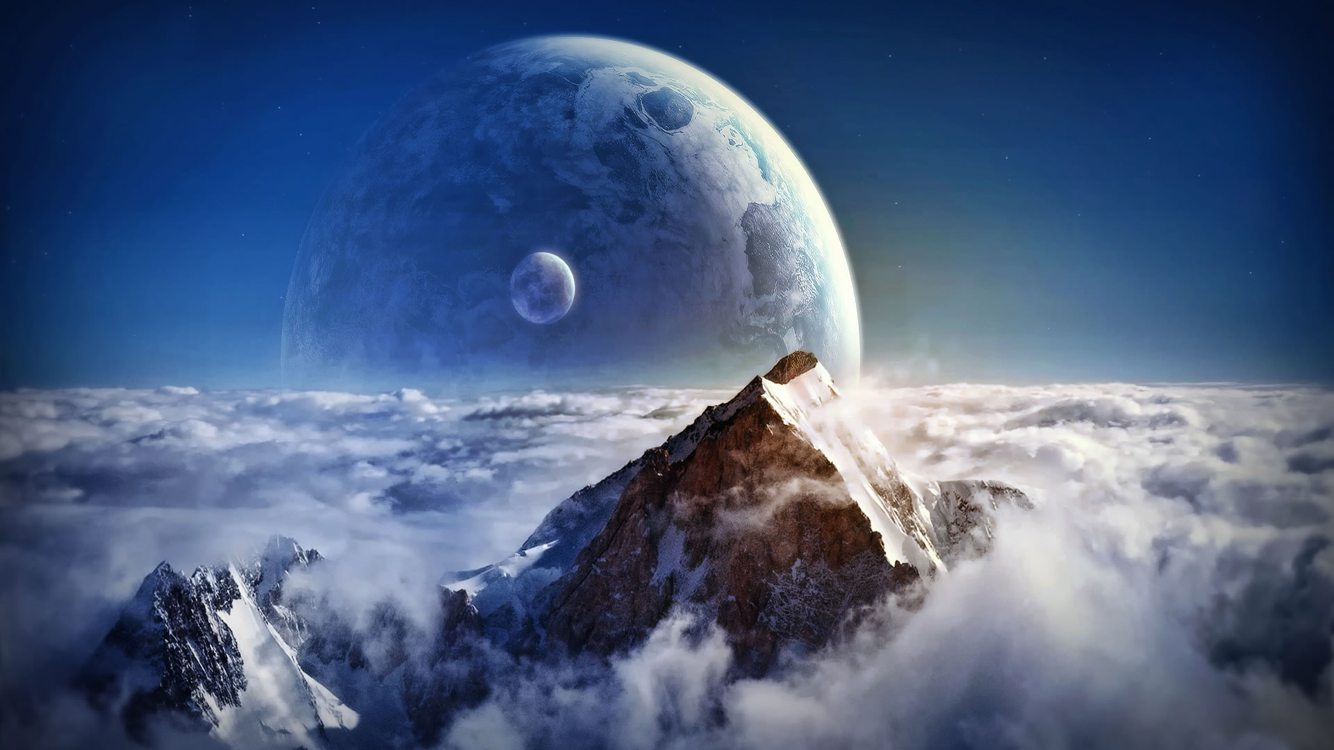 mountain peaks fantasy wallpaper 33576