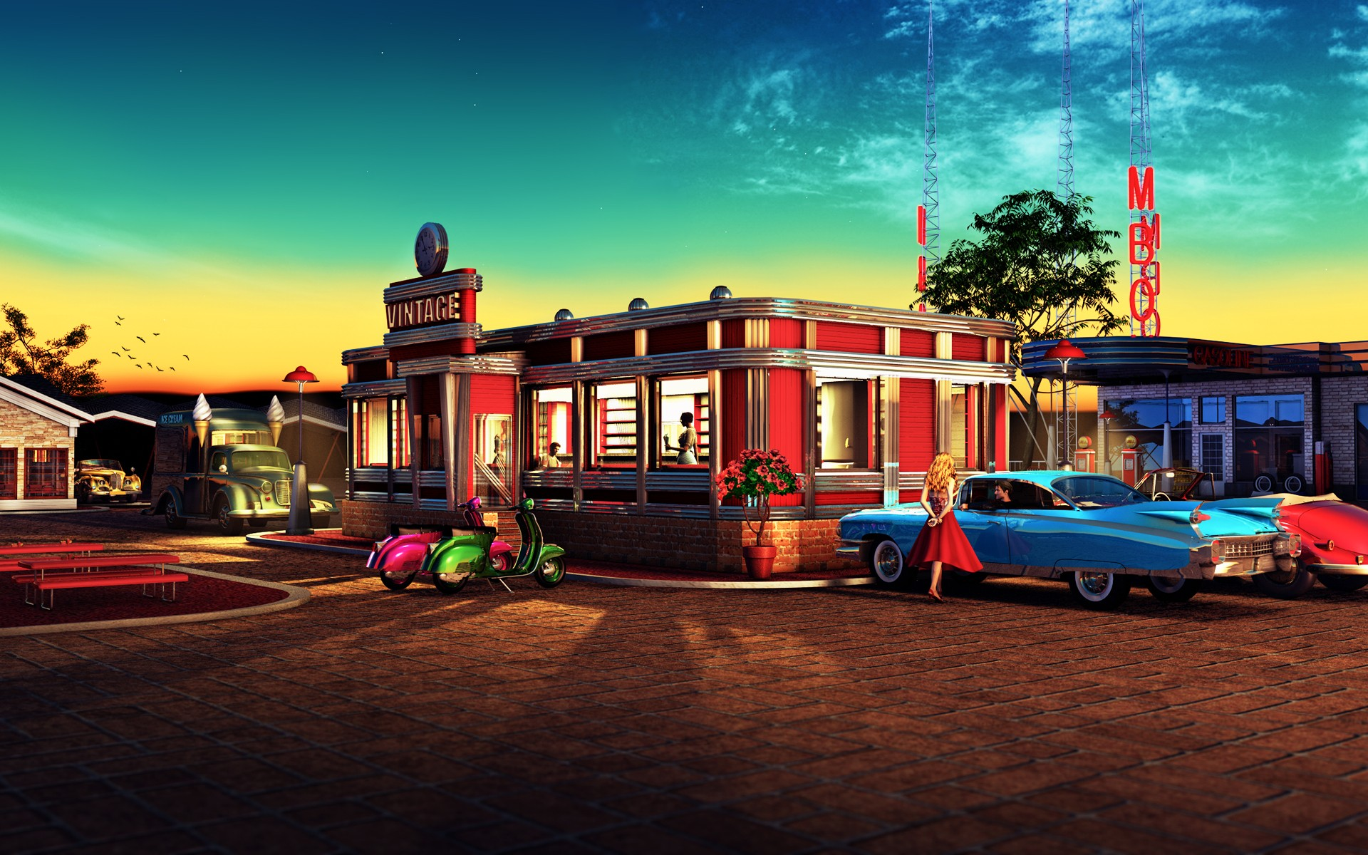 Retro Restaurant Wallpaper 42251 1920x1200 px HDWallSourcecom
