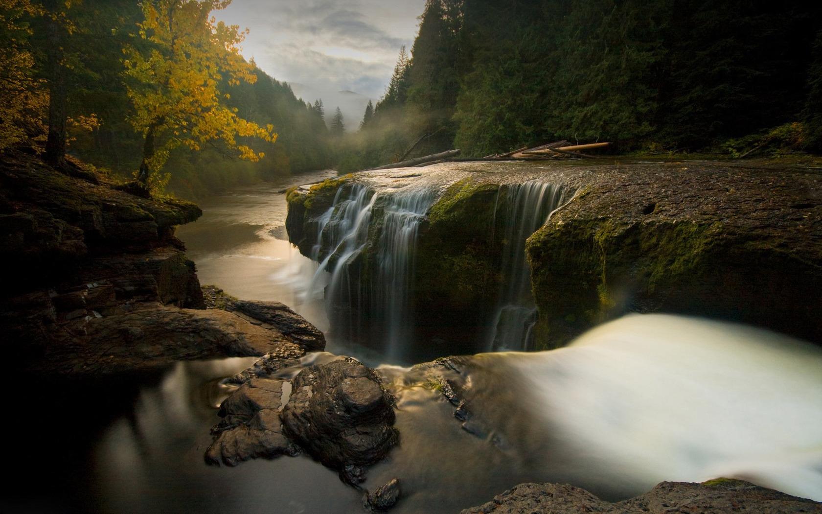 beautiful forest waterfall 34078