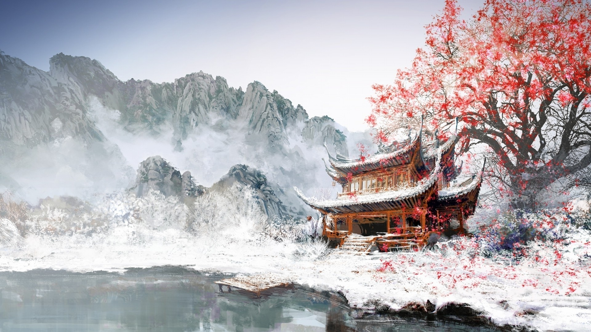 Japanese Landscape Painting Wallpaper Snowy Mountain Valley ...