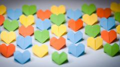 Colorful Origami Hearts Wallpaper 43523