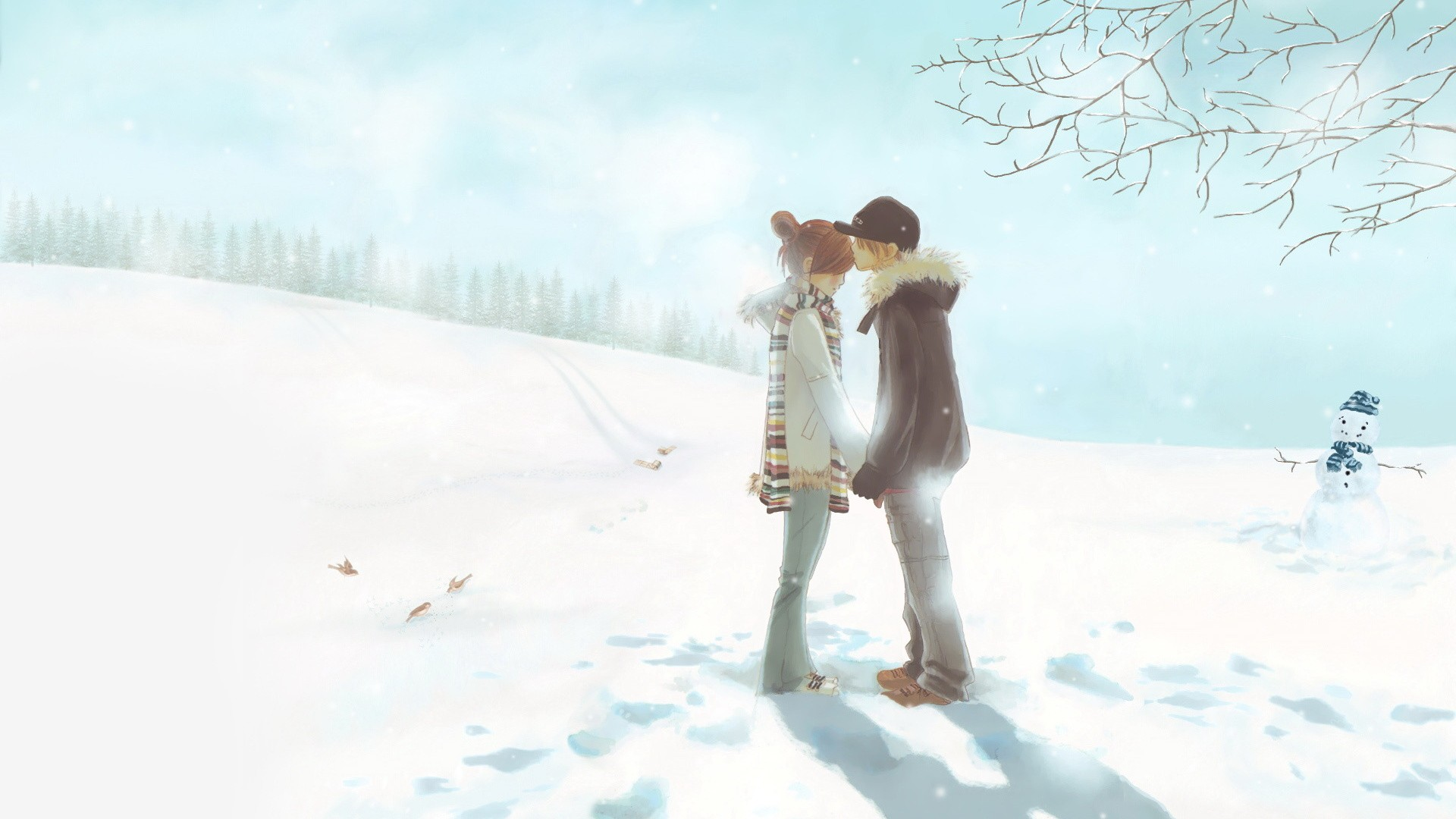lovely anime winter wallpaper 42571