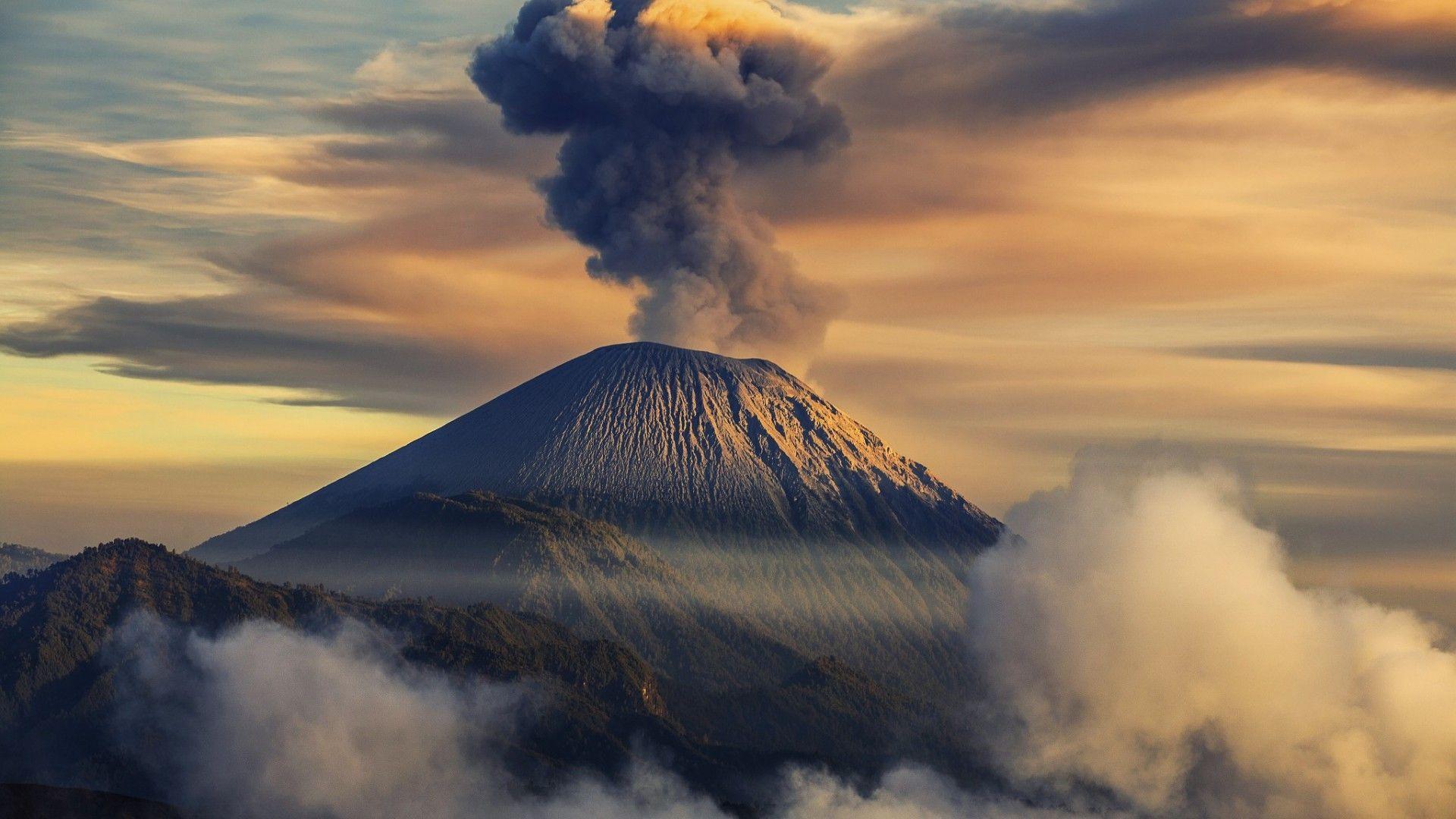 volcano smoke wallpaper 42565