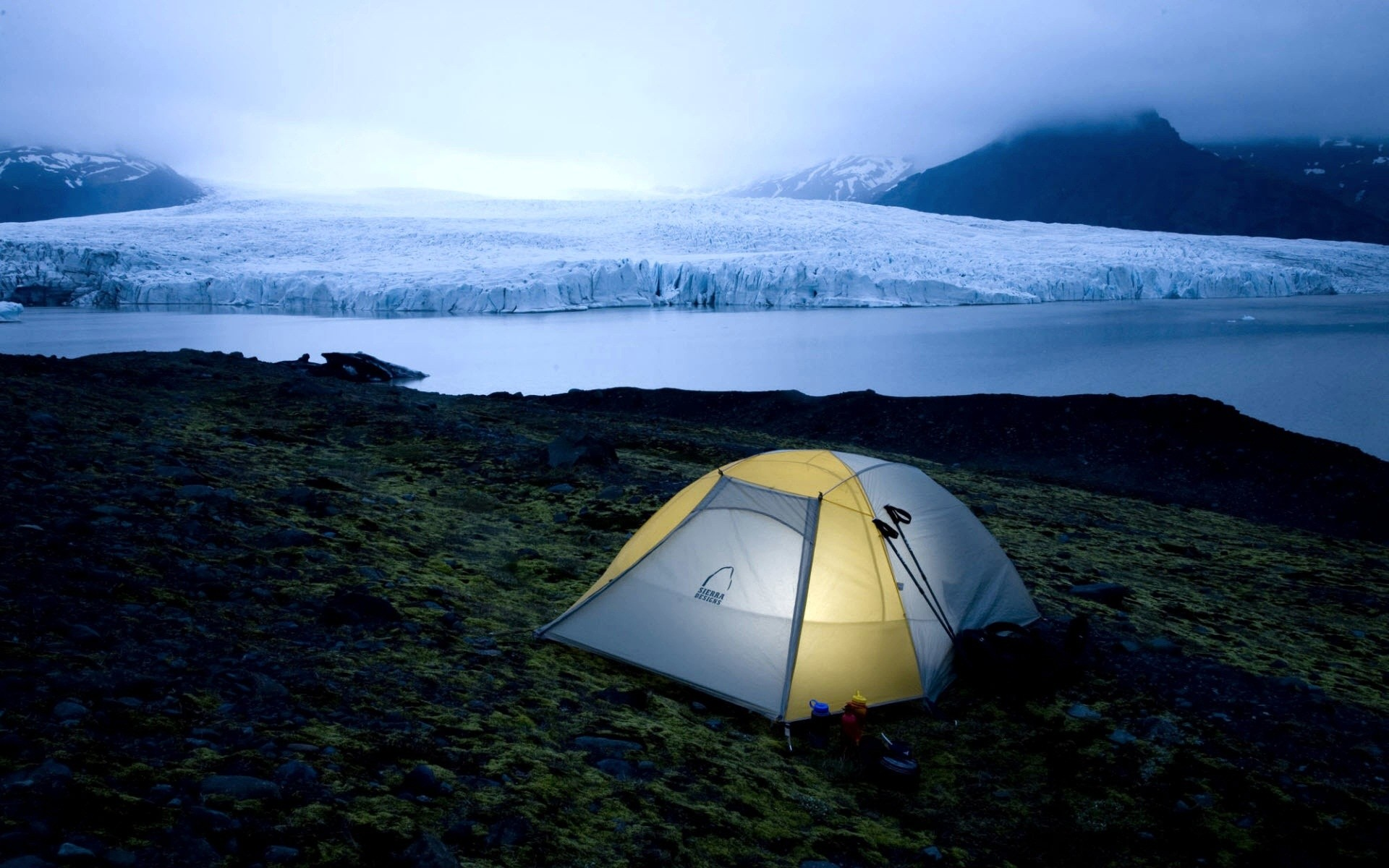 stunning glacier tent wallpaper 45985