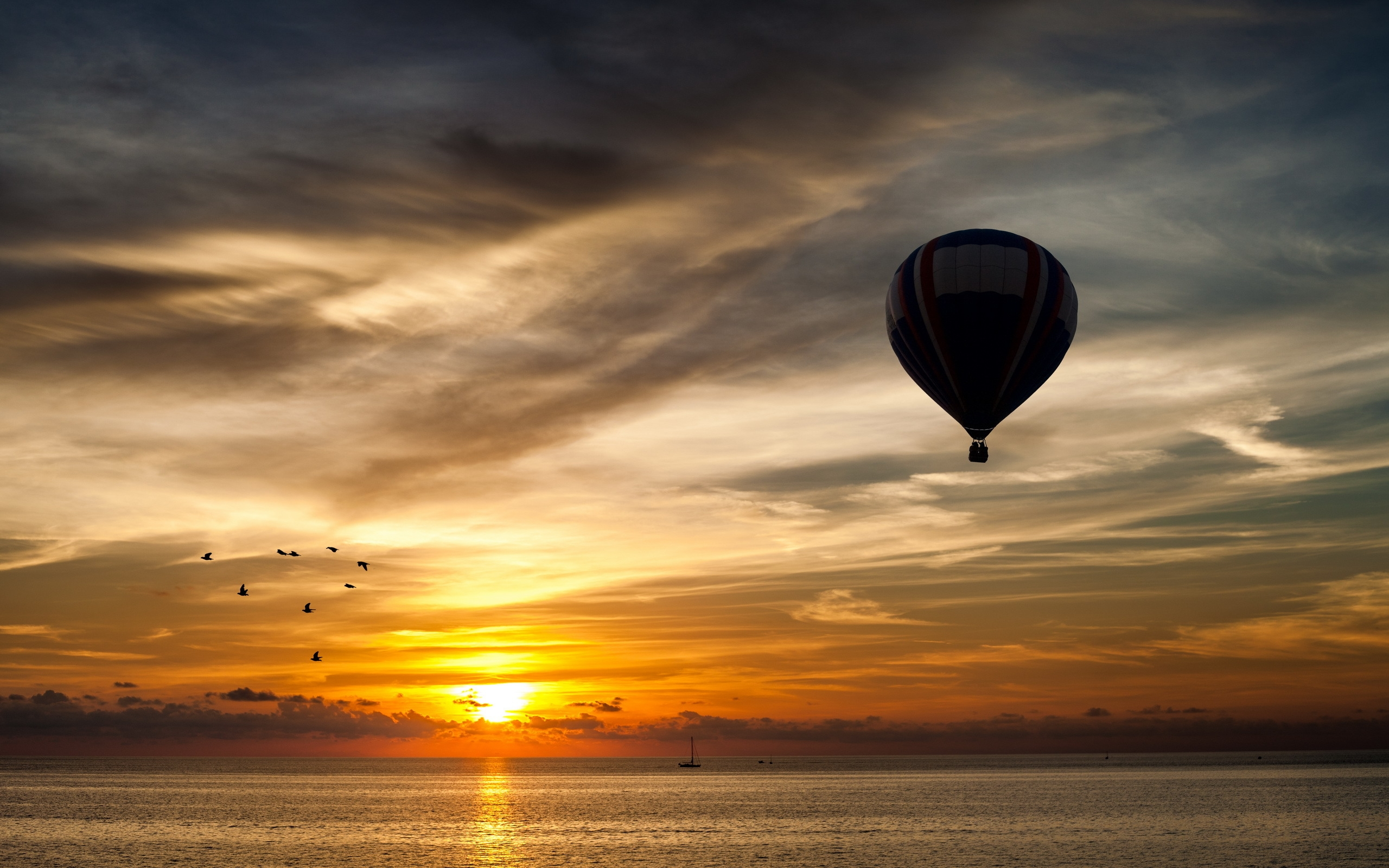 hot air balloon silhouette wallpaper 47600 2560x1600 px