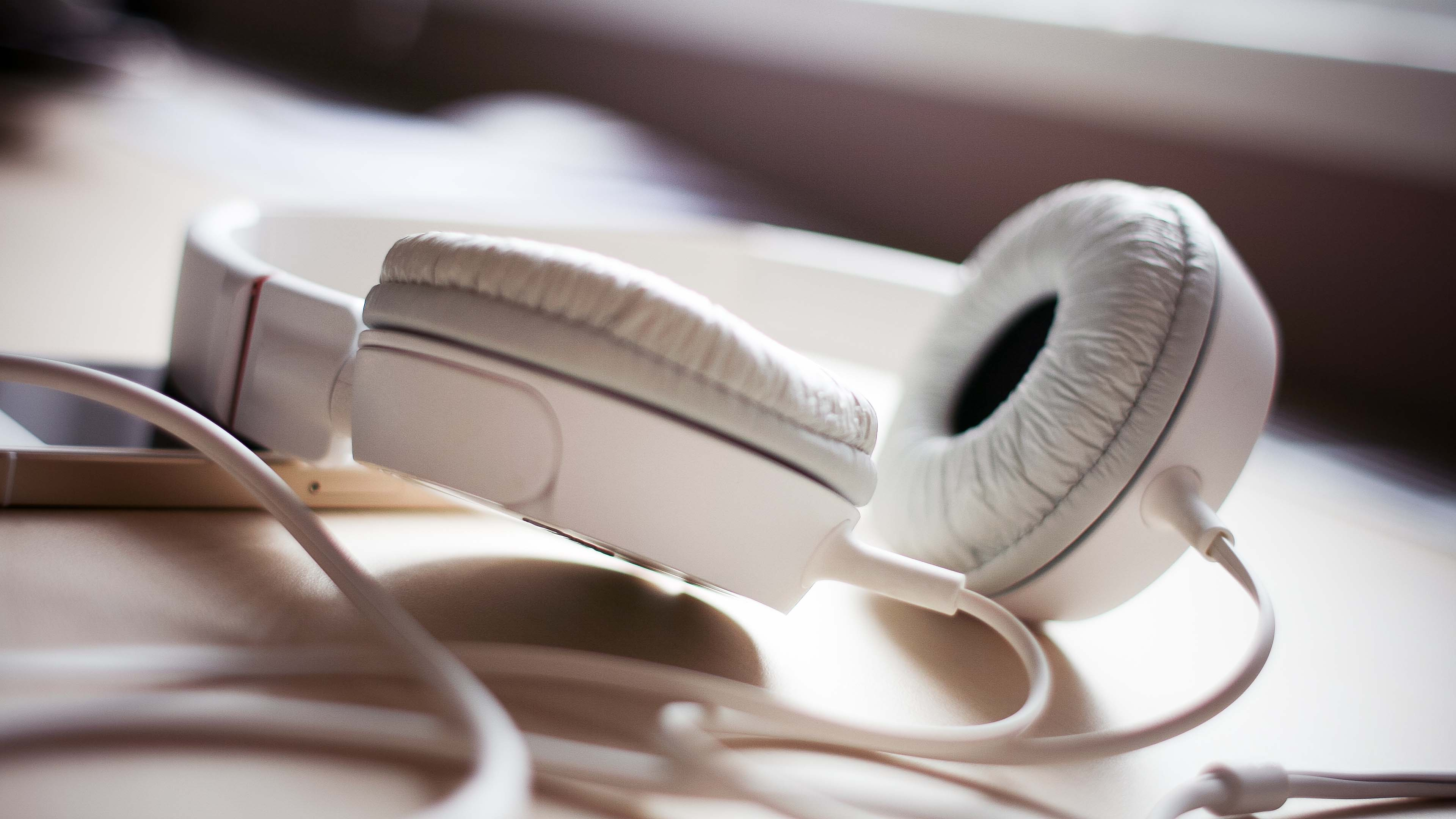 white headphones widescreen wallpaper 58697