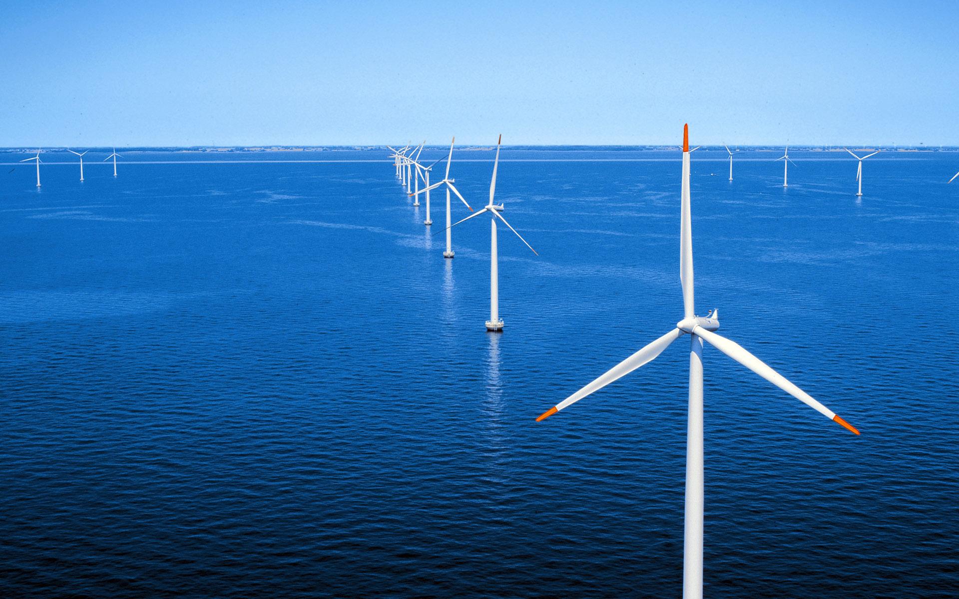 ocean windmills wallpaper 49673