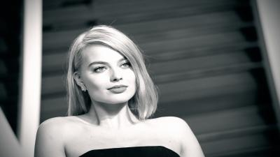 Monochrome Margot Robbie Widescreen Wallpaper 55033