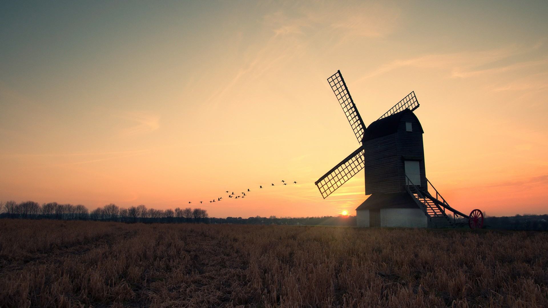 windmill sunset wallpaper 49679