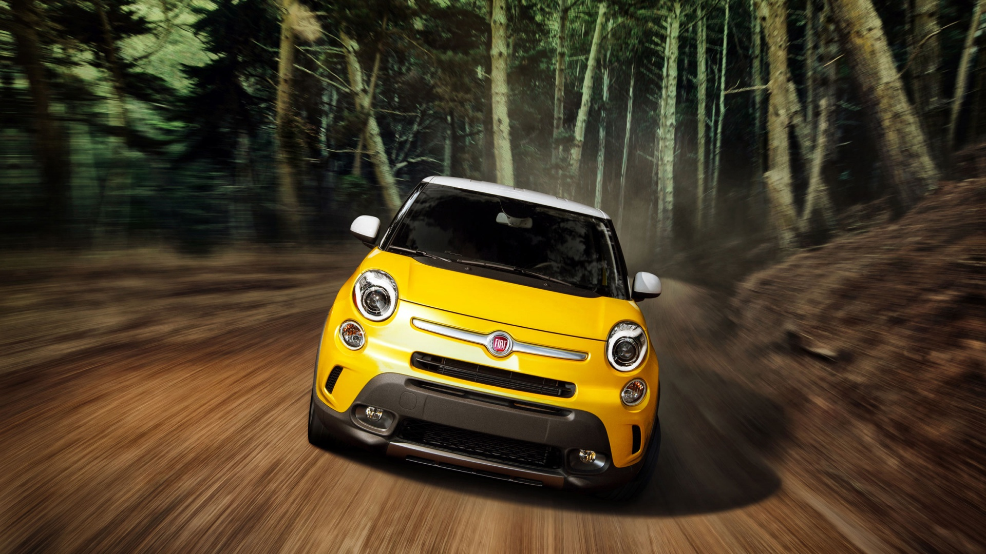 yellow fiat rolling shot wallpaper 49751