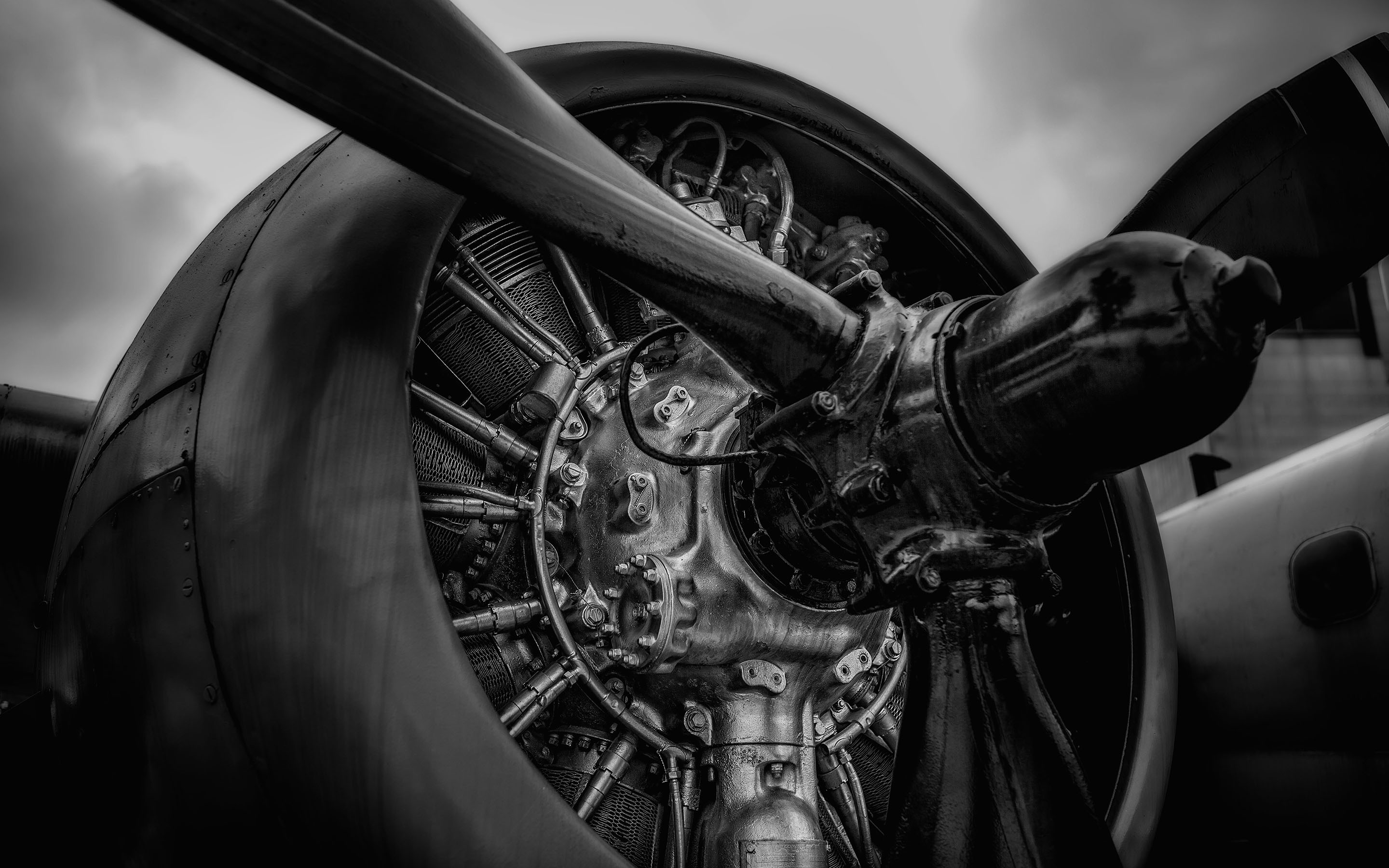 monochrome plane propeller widescreen wallpaper 51466