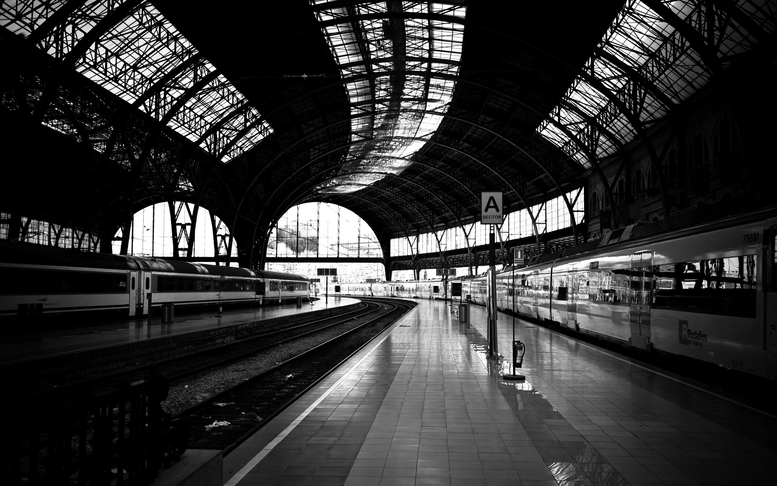 monochrome train station wide wallpaper 49178