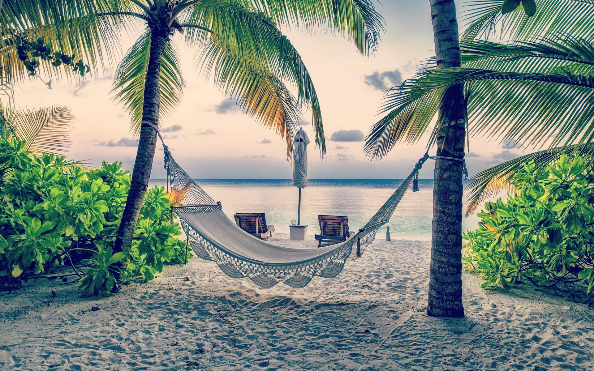 romantic beach hammock wallpaper 49216