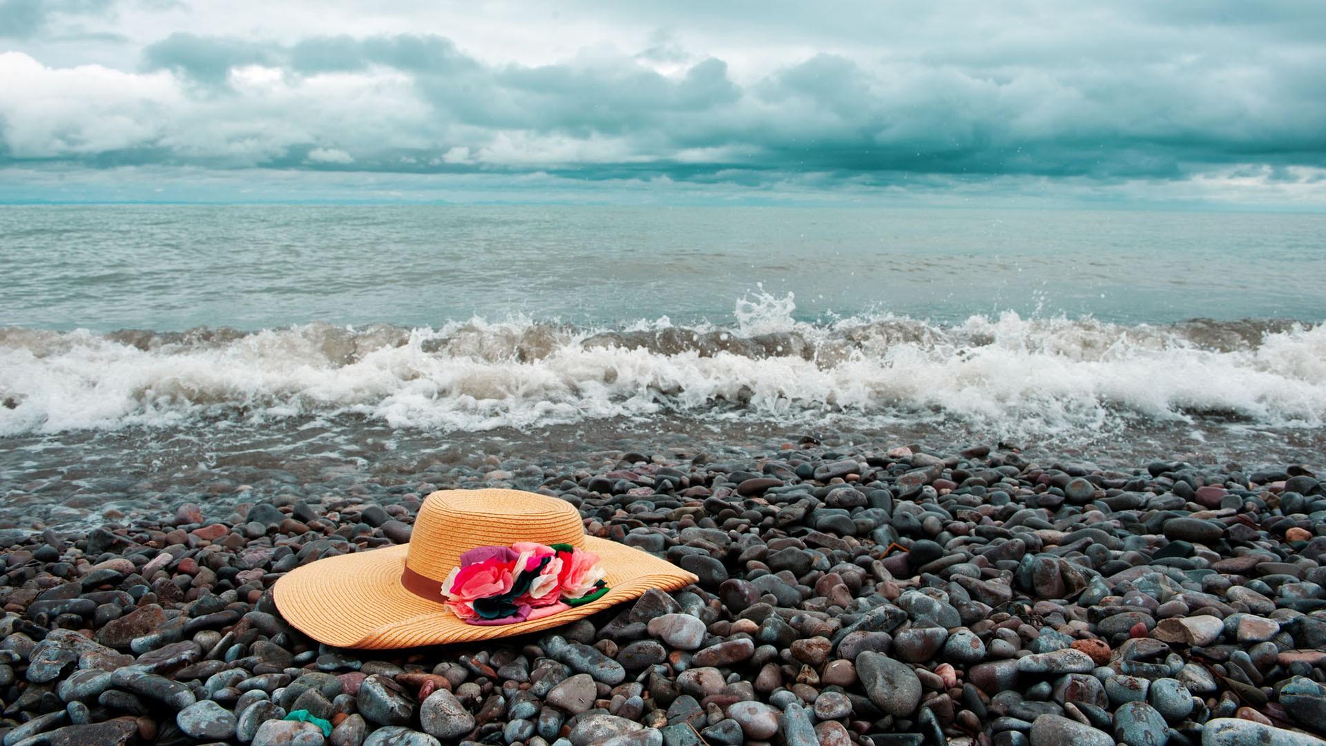 hat on beach wallpaper 49853