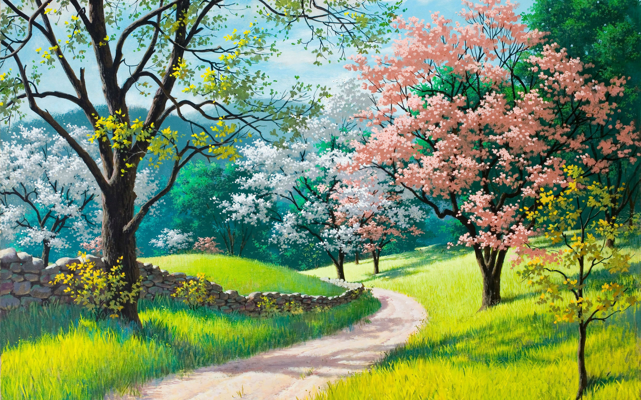 spring painting wide wallpaper 50546
