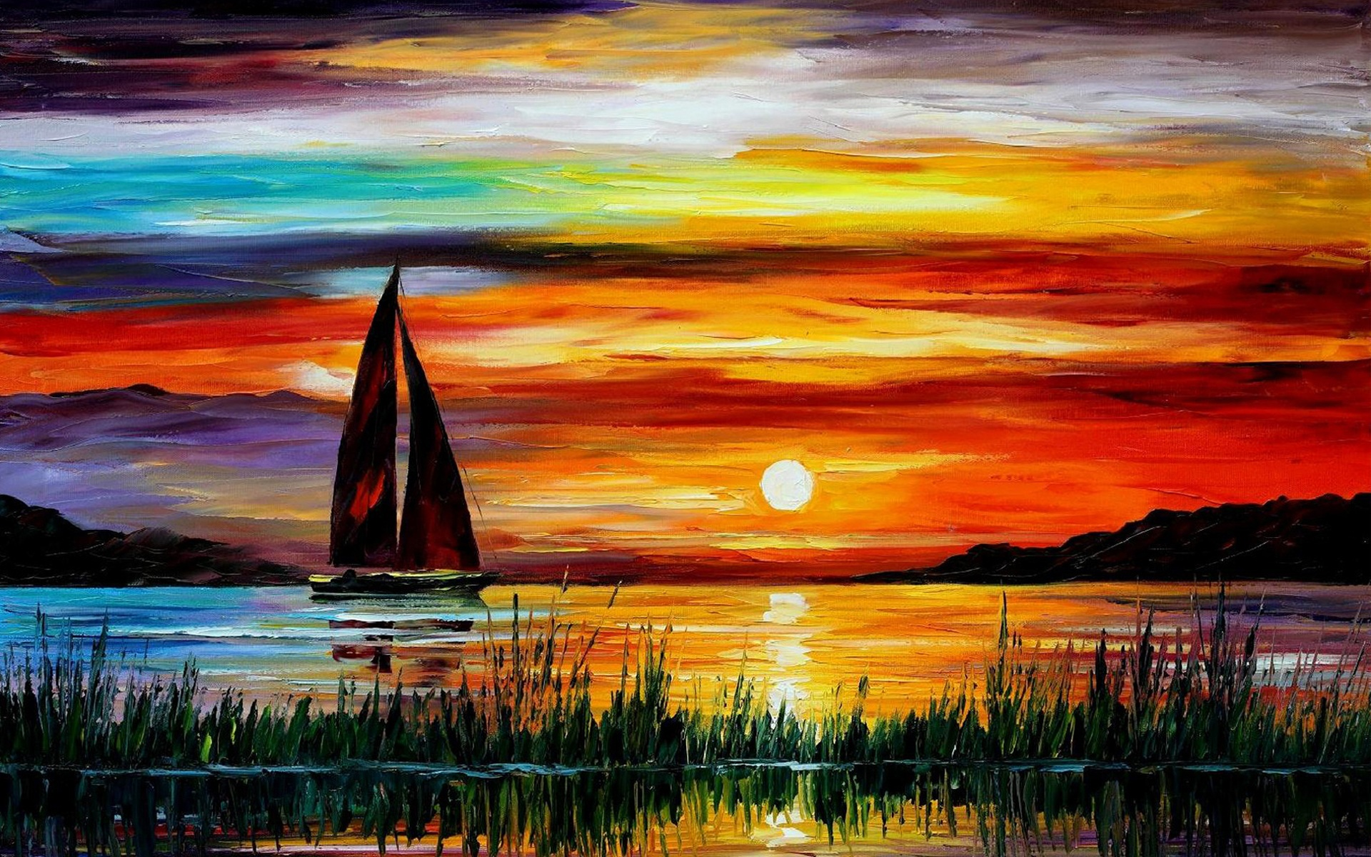 Sunset Boat Painting Wallpaper 50548