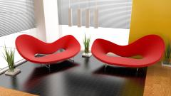 Red Modern Chairs Wallpaper 50280