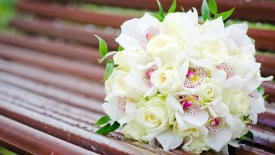 White Flower Bouquet Wide Wallpaper 52259