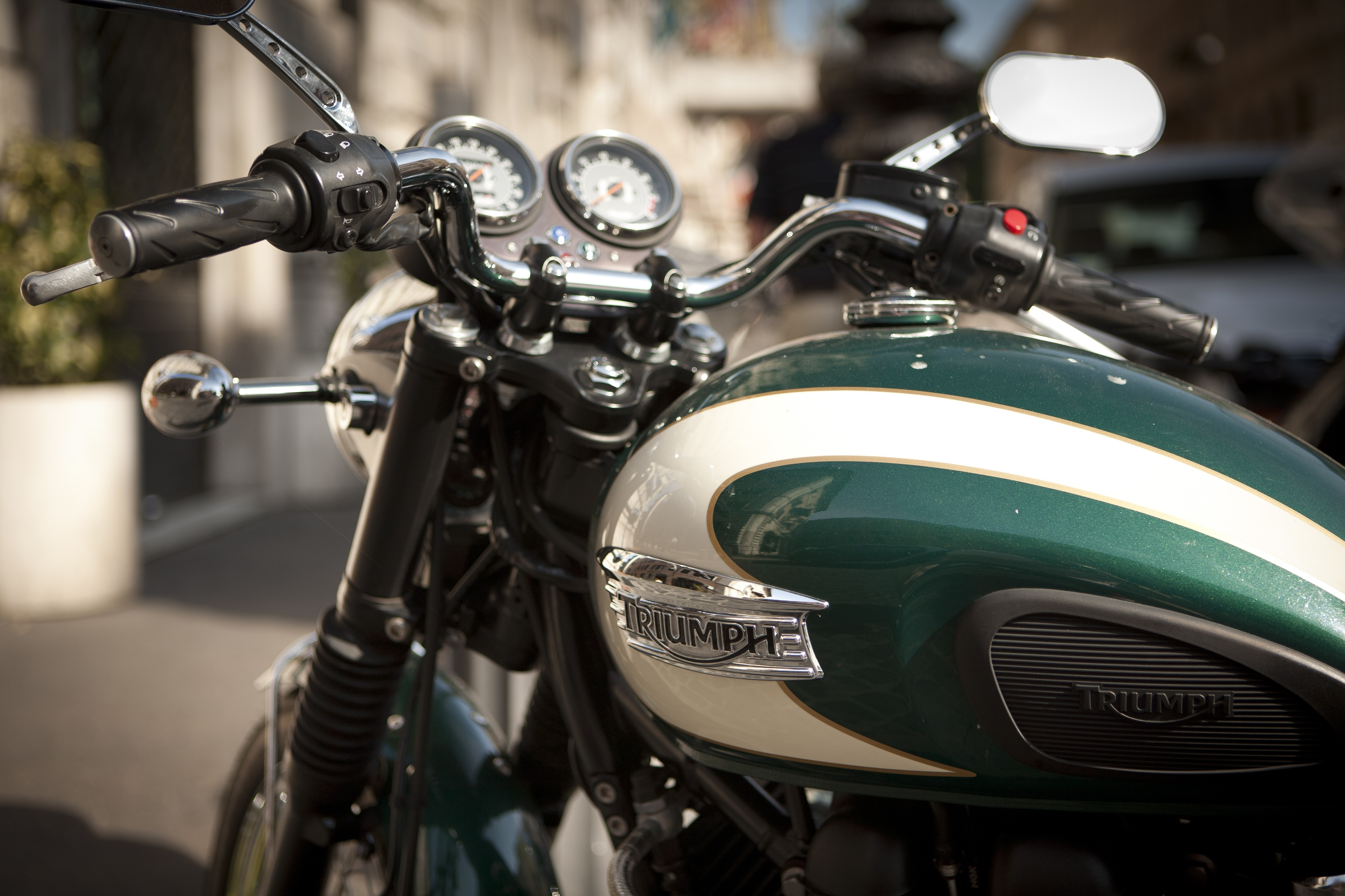 triumph bike up close wide wallpaper 49583