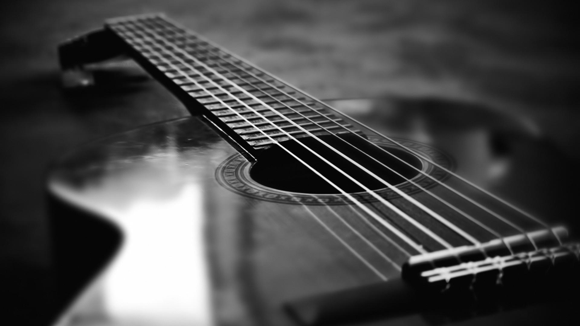 Monochrome Guitar Desktop Wallpaper 58780 1920x1080 px