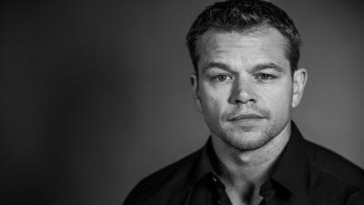 Monochrome Matt Damon Widescreen Wallpaper 51477