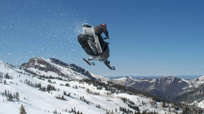 Snowmobile Jump Widescreen Wallpaper 53629