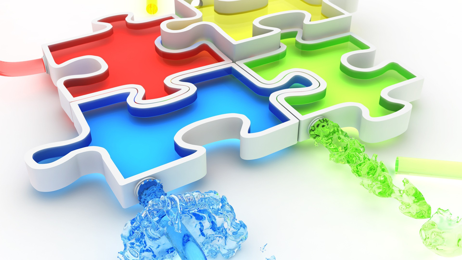 3d multicolor puzzle wallpaper 53006