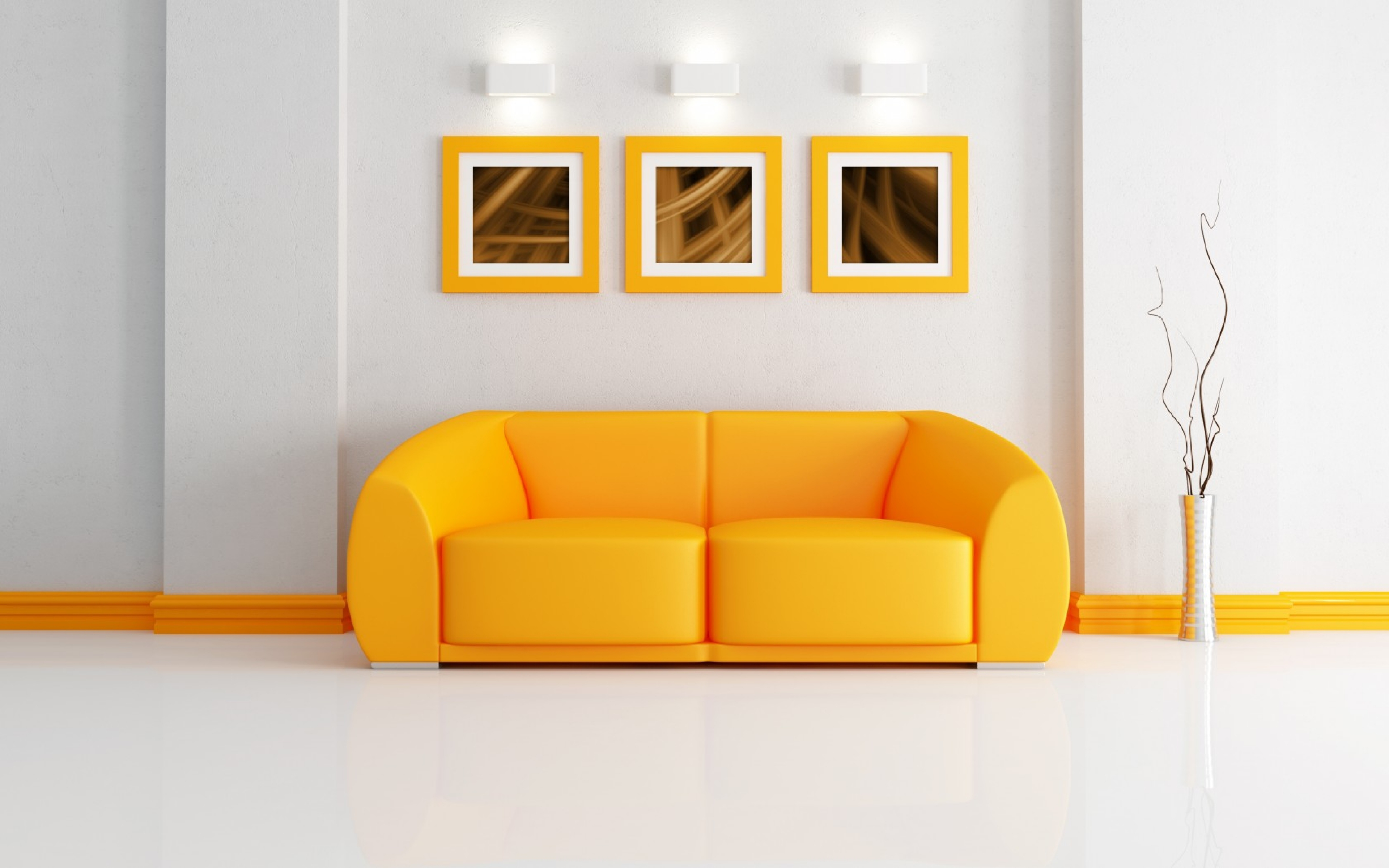 orange sofa widescreen wallpaper 49070