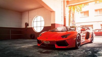 Red Lamborghini Car Wide Wallpaper 59988