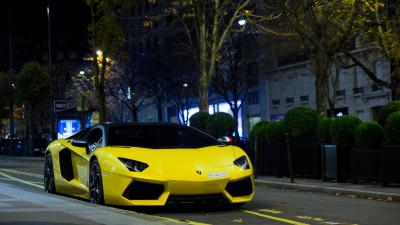 Yellow Lamborghini Car Wide Wallpaper 59992