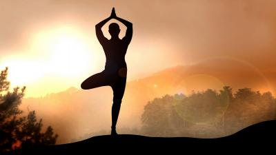 Yoga Silhouette Wide Wallpaper 61325