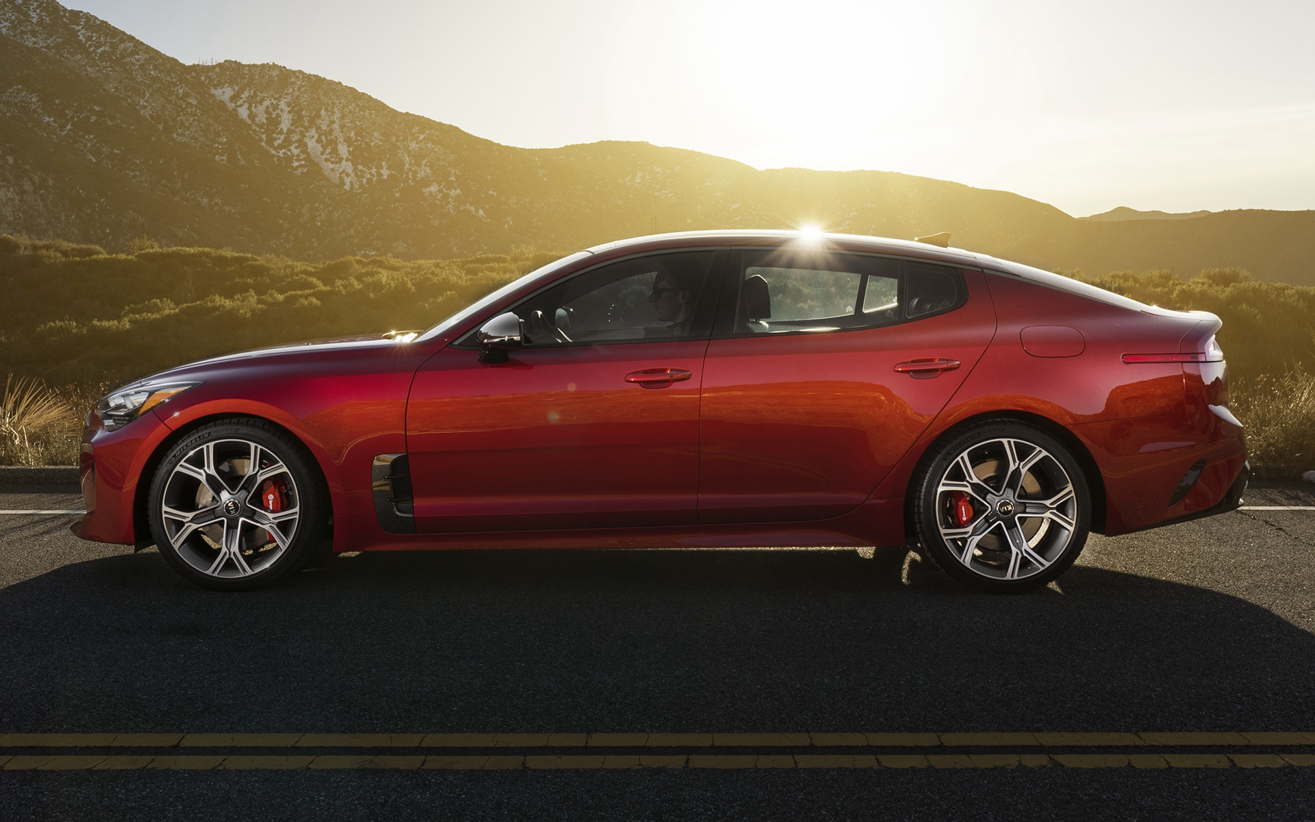 red kia stinger side view wallpaper 59819