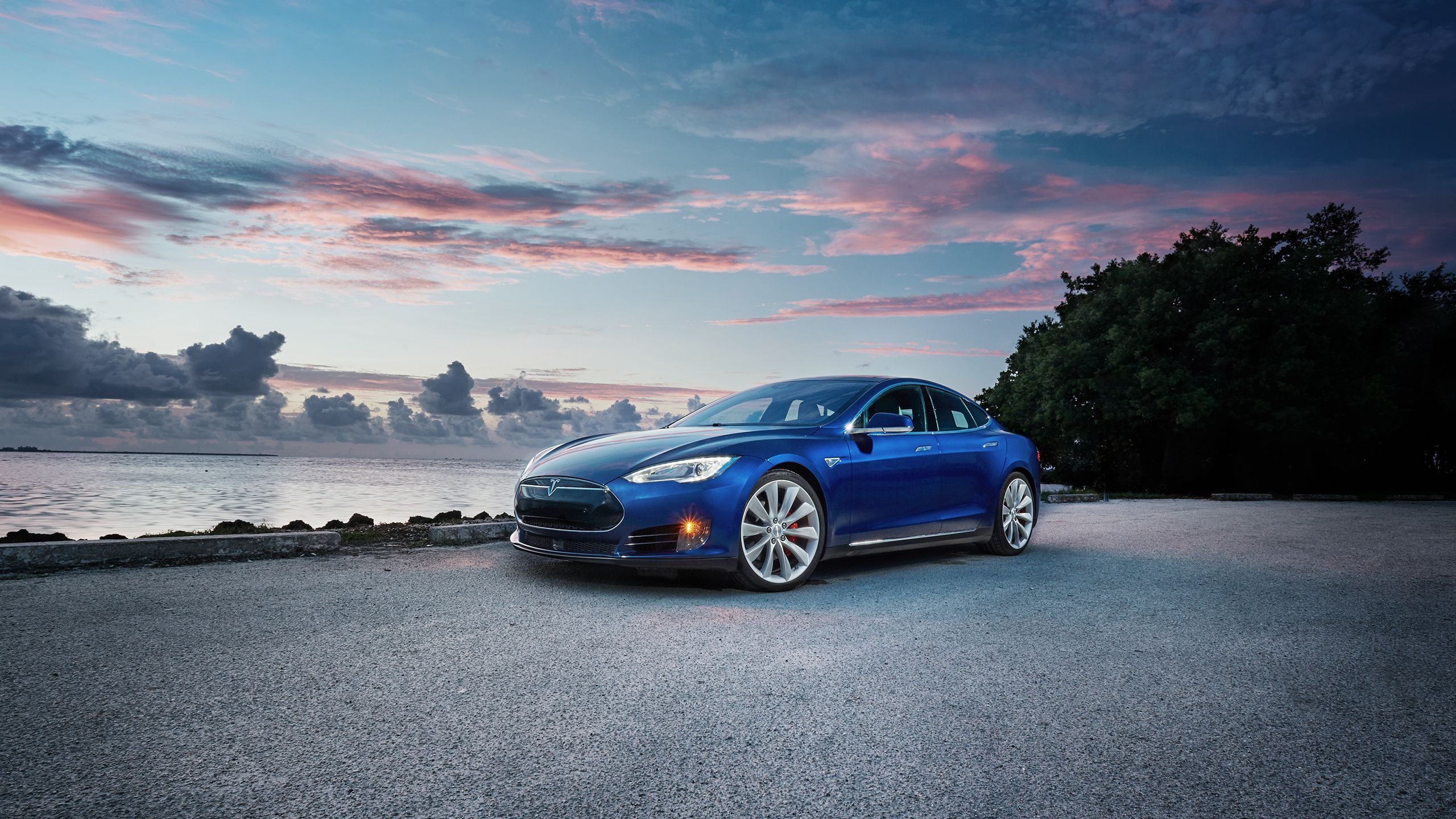 blue tesla model s wallpaper background 62154