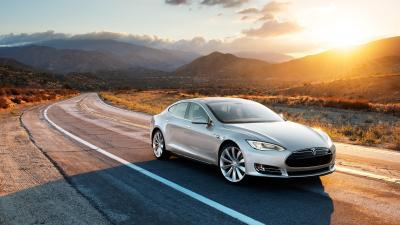 Grey Tesla Model S Wide Wallpaper 62157