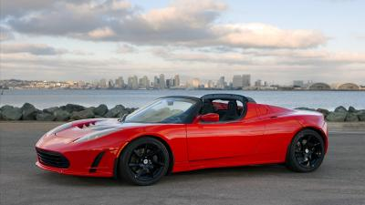 Red Tesla Roadster Wallpaper 62148