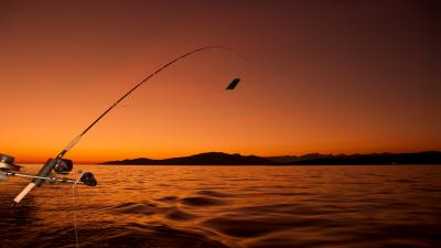 Fishing Pole Sunset Wallpaper 60368