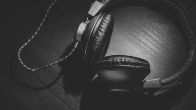 Monochrome Headphones Widescreen Wallpaper Background 61852