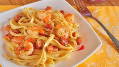 Seafood Spaghetti Widescreen Wallpaper 60486