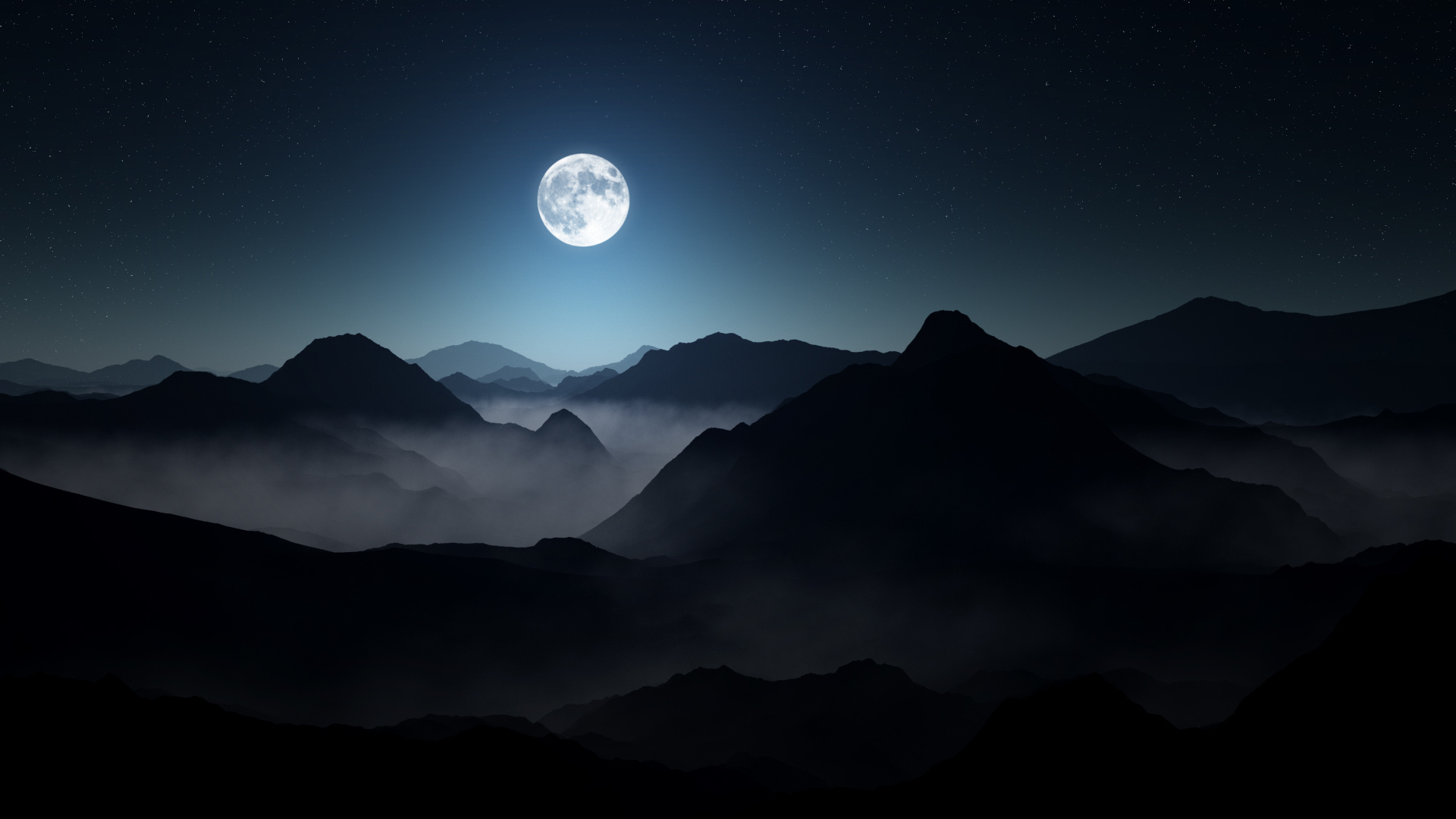 full moon over dark mountains wallpaper 61961