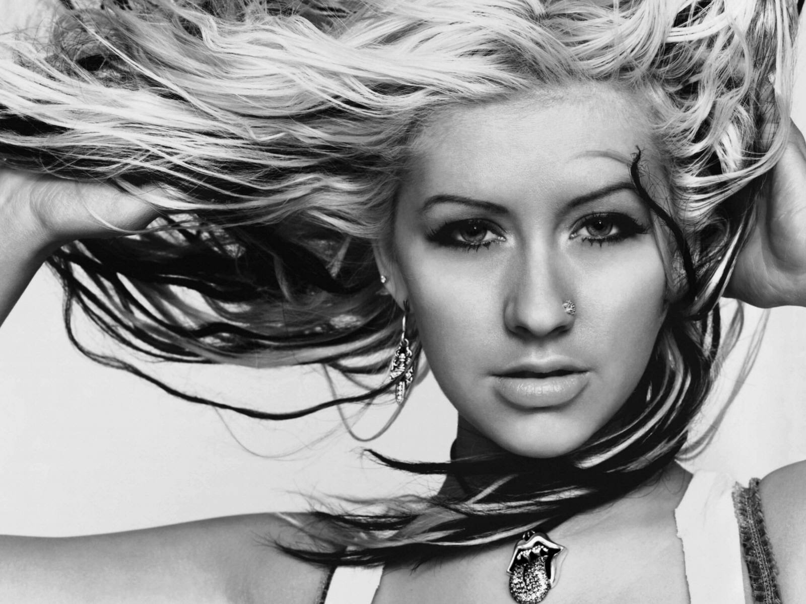 monochrome christina aguilera computer wallpaper 59838