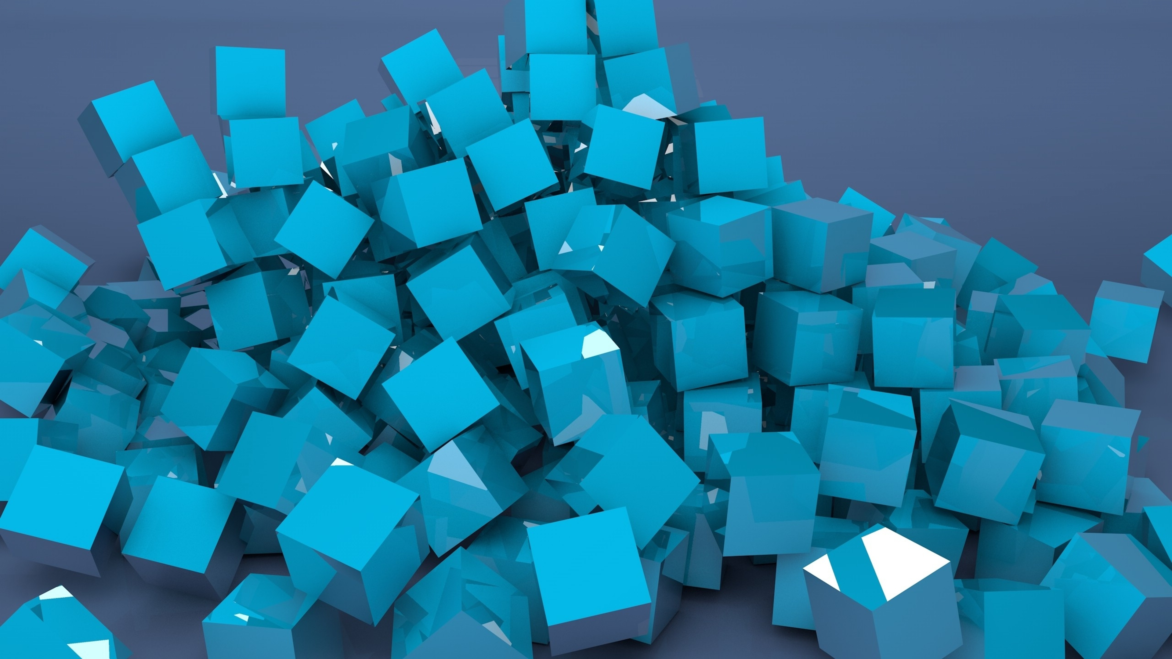 Blue 3d Blocks Widescreen Wallpaper 60959 3840x2160 Px