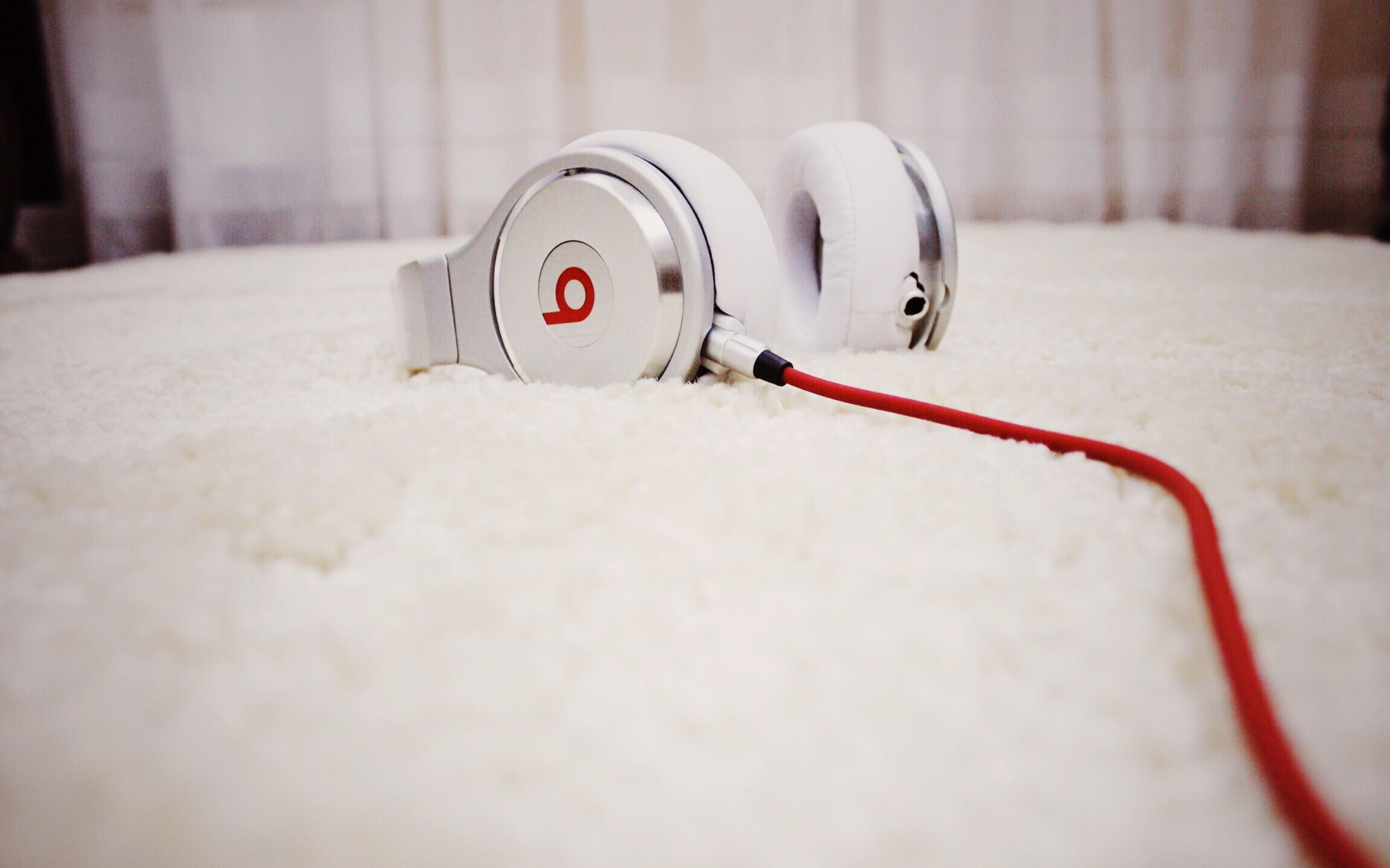 white beats audio headphones widescreen wallpaper 62183