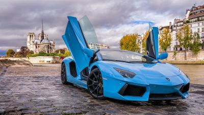 4K Blue Lamborghini Car Widescreen Wallpaper Background 63081