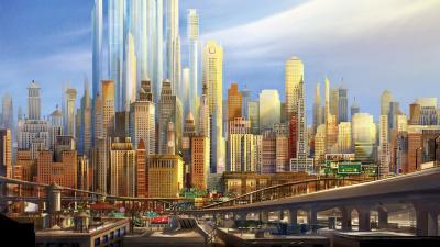 Anime City Desktop Wallpaper HD 64896