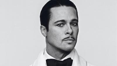 Monochrome Brad Pitt Short Hair Wallpaper 64272