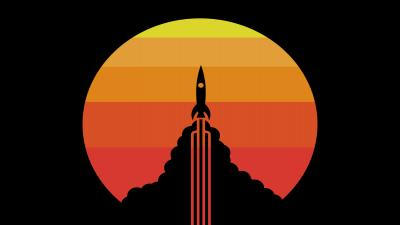 Simple Rocket Sunset Wallpaper Background 63424