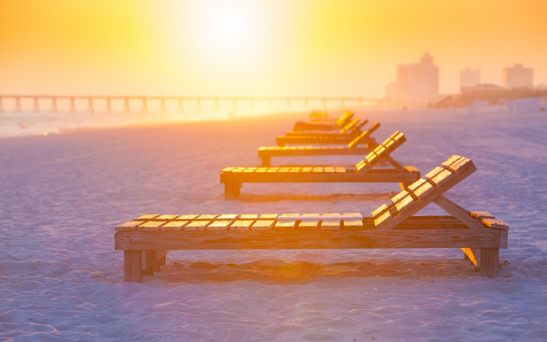 wood beach chairs sunset hd wallpaper 63894